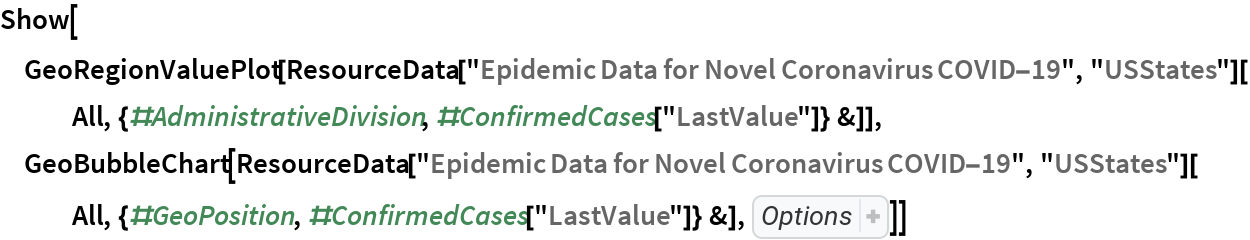 "Show[GeoRegionValuePlot[   ResourceData[""Epidemic Data for Novel Coronavirus COVID-19"", ""USStates""][    All, {#AdministrativeDivision, #ConfirmedCases[""LastValue""]} &]], GeoBubbleChart[   ResourceData[""Epidemic Data for Novel Coronavirus COVID-19"", ""USStates""][All, {#GeoPosition, #ConfirmedCases[""LastValue""]} &], ChartStyle -> RGBColor[    0.8588235294117647, 0.5607843137254902, 0.4588235294117647]]]"
