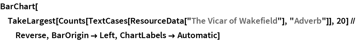 """BarChart[TakeLargest[    Counts[TextCases[ResourceData[""""The Vicar of Wakefield""""], """"Adverb""""]], 20] // Reverse, BarOrigin -> Left, ChartLabels -> Automatic]"""