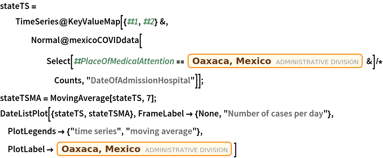 "stateTS = TimeSeries@    KeyValueMap[{#1, #2} &, Normal@mexicoCOVIDdata[       Select[#PlaceOfMedicalAttention == Entity[""AdministrativeDivision"", {""Oaxaca"", ""Mexico""}] &] /*         Counts, ""DateOfAdmissionHospital""]]; stateTSMA = MovingAverage[stateTS, 7]; DateListPlot[{stateTS, stateTSMA}, FrameLabel -> {None, ""Number of cases per day""}, PlotLegends -> {""time series"", ""moving average""}, PlotLabel -> Entity[""AdministrativeDivision"", {""Oaxaca"", ""Mexico""}]]"