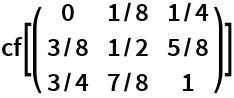 cf[({    {0, 1/8, 1/4},    {3/8, 1/2, 5/8},    {3/4, 7/8, 1}   })]