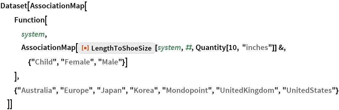 """Dataset[AssociationMap[   Function[    system, AssociationMap[     ResourceFunction[""""LengthToShoeSize""""][system, #, Quantity[10, """"inches""""]] &, {""""Child"""", """"Female"""", """"Male""""}]    ],   {""""Australia"""", """"Europe"""", """"Japan"""", """"Korea"""", """"Mondopoint"""", """"UnitedKingdom"""", """"UnitedStates""""}   ]]"""