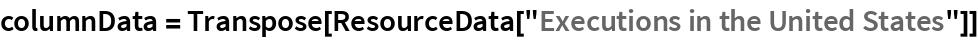 "columnData = Transpose[ResourceData[""Executions in the United States""]]"