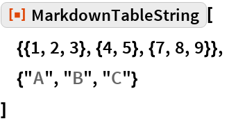 "ResourceFunction[""MarkdownTableString""][  {{1, 2, 3}, {4, 5}, {7, 8, 9}},  {""A"", ""B"", ""C""}  ]"