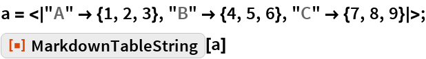 "a = <|""A"" -> {1, 2, 3}, ""B"" -> {4, 5, 6}, ""C"" -> {7, 8, 9}