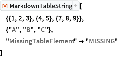 "ResourceFunction[""MarkdownTableString""][  {{1, 2, 3}, {4, 5}, {7, 8, 9}},  {""A"", ""B"", ""C""},  ""MissingTableElement"" -> ""MISSING""  ]"