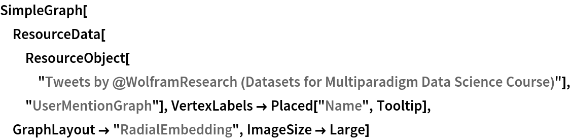 "SimpleGraph[  ResourceData[ResourceObject[   ""Tweets by @WolframResearch (Datasets for Multiparadigm Data \ Science Course)""], ""UserMentionGraph""], VertexLabels -> Placed[""Name"", Tooltip], GraphLayout -> ""RadialEmbedding"", ImageSize -> Large]"