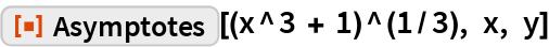 "ResourceFunction[""Asymptotes""][(x^3 + 1)^(1/3), x, y]"