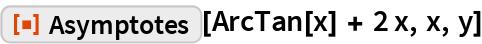 """ResourceFunction[""""Asymptotes""""][ArcTan[x] + 2 x, x, y]"""