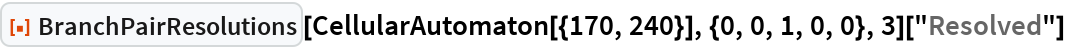 "ResourceFunction[""BranchPairResolutions""][   CellularAutomaton[{170, 240}], {0, 0, 1, 0, 0}, 3][""Resolved""]"