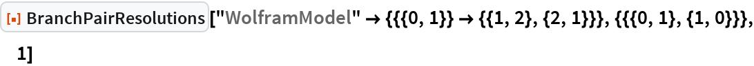 """ResourceFunction[""""BranchPairResolutions""""][  """"WolframModel"""" -> {{{0, 1}} -> {{1, 2}, {2, 1}}}, {{{0, 1}, {1, 0}}},   1]"""