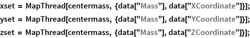 """xset = MapThread[centermass, {data[""""Mass""""], data[""""XCoordinate""""]}]; yset = MapThread[centermass, {data[""""Mass""""], data[""""YCoordinate""""]}]; zset = MapThread[centermass, {data[""""Mass""""], data[""""ZCoordinate""""]}];"""