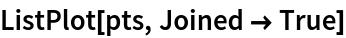 ListPlot[pts, Joined -> True]