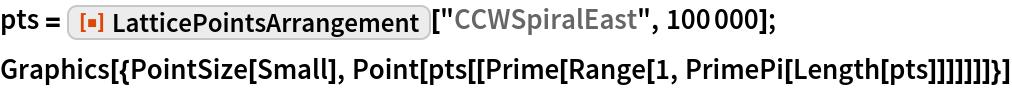 "pts = ResourceFunction[""LatticePointsArrangement""][""CCWSpiralEast"", 100000]; Graphics[{PointSize[Small], Point[pts[[Prime[Range[1, PrimePi[Length[pts]]]]]]]}]"