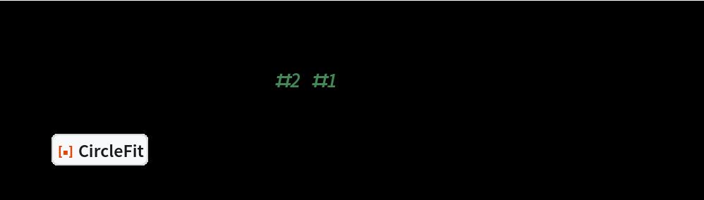 "SeedRandom[1234]; n = 2500; pts = MapThread[    AngleVector[{#2, #1}] &, {RandomReal[{0, 2 Pi}, n], RandomVariate[NormalDistribution[20, 2], n]}]; circ = ResourceFunction[""CircleFit""][pts]; Graphics[{Point[pts], Red, Thick, circ}, Frame -> True]"