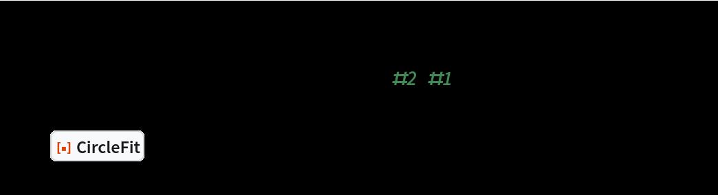 "SeedRandom[1234]; n = 1000; pts = MapThread[    AngleVector[{10^2, 10^3}, {#2, #1}] &, {RandomReal[{0, Pi/3}, n], RandomVariate[NormalDistribution[400, 20], n]}]; circ = ResourceFunction[""CircleFit""][pts]; Graphics[{Point[pts], Red, circ}, Frame -> True]"