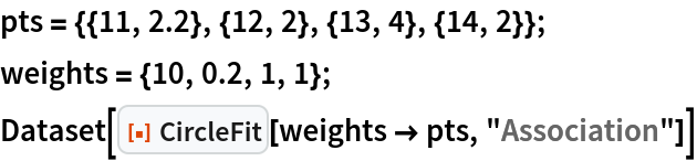 """pts = {{11, 2.2}, {12, 2}, {13, 4}, {14, 2}}; weights = {10, 0.2, 1, 1}; Dataset[ResourceFunction[""""CircleFit""""][weights -> pts, """"Association""""]]"""