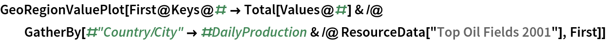 """GeoRegionValuePlot[  First@Keys@# -> Total[Values@#] & /@ GatherBy[#""""Country/City"""" -> #DailyProduction & /@ ResourceData[""""Top Oil Fields 2001""""], First]]"""