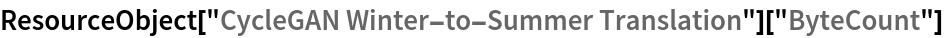"ResourceObject[""CycleGAN Winter-to-Summer Translation""][""ByteCount""]"