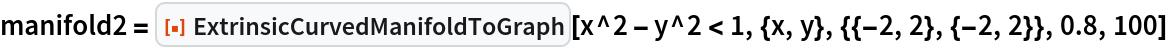 """manifold2 = ResourceFunction[""""ExtrinsicCurvedManifoldToGraph""""][   x^2 - y^2 < 1, {x, y}, {{-2, 2}, {-2, 2}}, 0.8, 100]"""