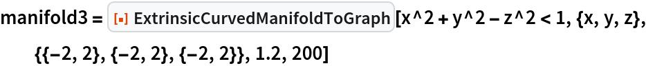 """manifold3 = ResourceFunction[""""ExtrinsicCurvedManifoldToGraph""""][   x^2 + y^2 - z^2 < 1, {x, y, z}, {{-2, 2}, {-2, 2}, {-2, 2}}, 1.2, 200]"""