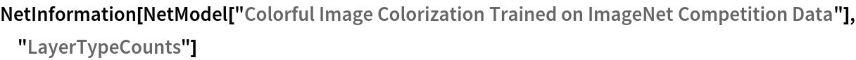 "NetInformation[  NetModel[""Colorful Image Colorization Trained on ImageNet \ Competition Data""], ""LayerTypeCounts""]"