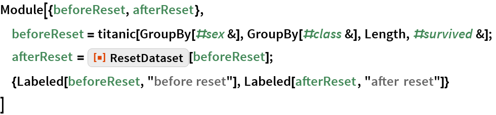 "Module[{beforeReset, afterReset},  beforeReset = titanic[GroupBy[#sex &], GroupBy[#class &], Length, #survived &];  afterReset = ResourceFunction[""ResetDataset""][beforeReset];  {Labeled[beforeReset, ""before reset""], Labeled[afterReset, ""after reset""]}  ]"