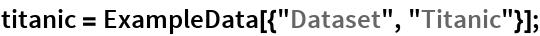 """titanic = ExampleData[{""""Dataset"""", """"Titanic""""}];"""