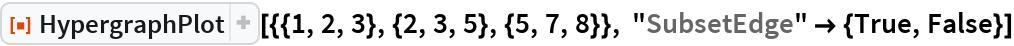 "ResourceFunction[""HypergraphPlot""][{{1, 2, 3}, {2, 3, 5}, {5, 7, 8}}, ""SubsetEdge"" -> {True, False}]"