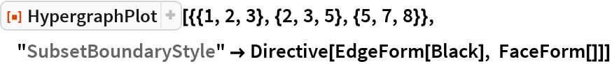 "ResourceFunction[""HypergraphPlot""][{{1, 2, 3}, {2, 3, 5}, {5, 7, 8}}, ""SubsetBoundaryStyle"" -> Directive[EdgeForm[Black], FaceForm[]]]"