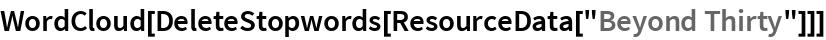 """WordCloud[DeleteStopwords[ResourceData[""""Beyond Thirty""""]]]"""