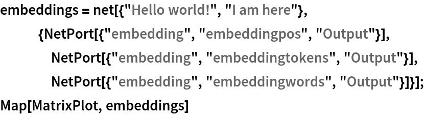 "embeddings = net[{""Hello world!"", ""I am here""},    {NetPort[{""embedding"", ""embeddingpos"", ""Output""}],     NetPort[{""embedding"", ""embeddingtokens"", ""Output""}],     NetPort[{""embedding"", ""embeddingwords"", ""Output""}]}]; Map[MatrixPlot, embeddings]"