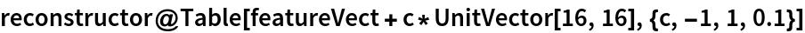 reconstructor@  Table[featureVect + c*UnitVector[16, 16], {c, -1, 1, 0.1}]