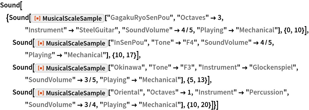 "Sound[{Sound[    ResourceFunction[""MusicalScaleSample""][""GagakuRyoSenPou"", ""Octaves"" -> 3, ""Instrument"" -> ""SteelGuitar"", ""SoundVolume"" -> 4/5, ""Playing"" -> ""Mechanical""], {0, 10}], Sound[ResourceFunction[""MusicalScaleSample""][""InSenPou"", ""Tone"" -> ""F4"", ""SoundVolume"" -> 4/5, ""Playing"" -> ""Mechanical""], {10, 17}], Sound[ResourceFunction[""MusicalScaleSample""][""Okinawa"", ""Tone"" -> ""F3"", ""Instrument"" -> ""Glockenspiel"", ""SoundVolume"" -> 3/5, ""Playing"" -> ""Mechanical""], {5, 13}], Sound[ResourceFunction[""MusicalScaleSample""][""Oriental"", ""Octaves"" -> 1, ""Instrument"" -> ""Percussion"", ""SoundVolume"" -> 3/4, ""Playing"" -> ""Mechanical""], {10, 20}]}]"