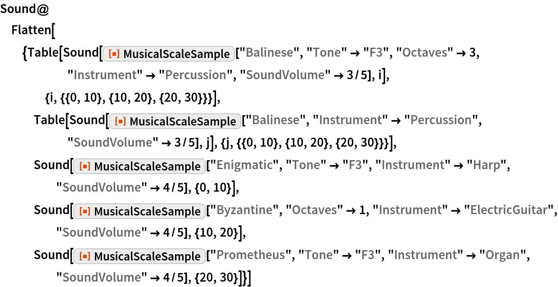 "Sound@Flatten[{Table[     Sound[ResourceFunction[""MusicalScaleSample""][""Balinese"", ""Tone"" -> ""F3"", ""Octaves"" -> 3, ""Instrument"" -> ""Percussion"", ""SoundVolume"" -> 3/5], i], {i, {{0, 10}, {10, 20}, {20, 30}}}], Table[Sound[      ResourceFunction[""MusicalScaleSample""][""Balinese"", ""Instrument"" -> ""Percussion"", ""SoundVolume"" -> 3/5], j], {j, {{0, 10}, {10, 20}, {20, 30}}}], Sound[ResourceFunction[""MusicalScaleSample""][""Enigmatic"", ""Tone"" -> ""F3"", ""Instrument"" -> ""Harp"", ""SoundVolume"" -> 4/5], {0, 10}], Sound[ResourceFunction[""MusicalScaleSample""][""Byzantine"", ""Octaves"" -> 1, ""Instrument"" -> ""ElectricGuitar"", ""SoundVolume"" -> 4/5], {10, 20}], Sound[ResourceFunction[""MusicalScaleSample""][""Prometheus"", ""Tone"" -> ""F3"", ""Instrument"" -> ""Organ"", ""SoundVolume"" -> 4/5], {20, 30}]}]"