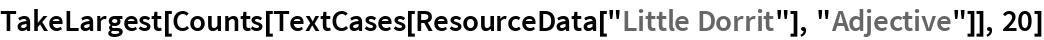 "TakeLargest[  Counts[TextCases[ResourceData[""Little Dorrit""], ""Adjective""]], 20]"