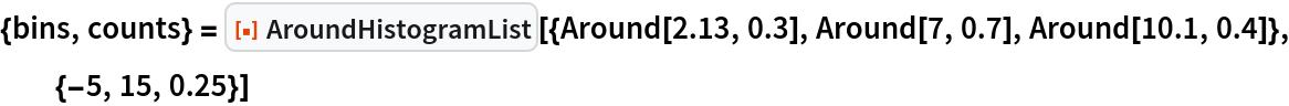 """{bins, counts} = ResourceFunction[   """"AroundHistogramList""""][{Around[2.13, 0.3], Around[7, 0.7], Around[10.1, 0.4]}, {-5, 15, 0.25}]"""