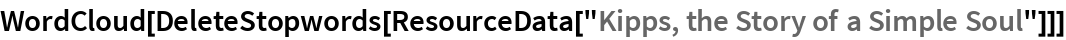 "WordCloud[  DeleteStopwords[ResourceData[""Kipps, the Story of a Simple Soul""]]]"