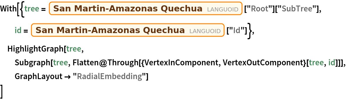 "With[{tree = Entity[""Languoid"", ""sanm1306""][""Root""][""SubTree""], id = Entity[""Languoid"", ""sanm1306""][""Id""]}, HighlightGraph[tree, Subgraph[tree, Flatten@Through[{VertexInComponent, VertexOutComponent}[tree, id]]], GraphLayout -> ""RadialEmbedding""]  ]"