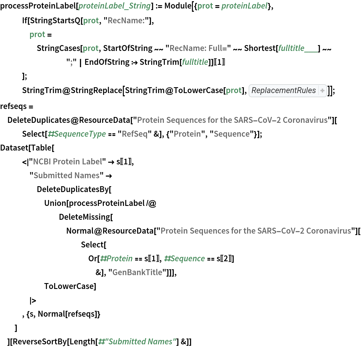 """processProteinLabel[proteinLabel_String] := Module[{prot = proteinLabel},    If[StringStartsQ[prot, """"RecName:""""],     prot = StringCases[prot, StartOfString ~~ """"RecName: Full="""" ~~ Shortest[fulltitle___] ~~ """";"""" 