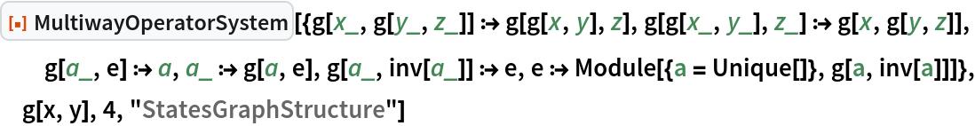 "ResourceFunction[  ""MultiwayOperatorSystem""][{g[x_, g[y_, z_]] :> g[g[x, y], z], g[g[x_, y_], z_] :> g[x, g[y, z]], g[a_, e] :> a, a_ :> g[a, e], g[a_, inv[a_]] :> e, e :> Module[{a = Unique[]}, g[a, inv[a]]]}, g[x, y], 4, ""StatesGraphStructure""]"