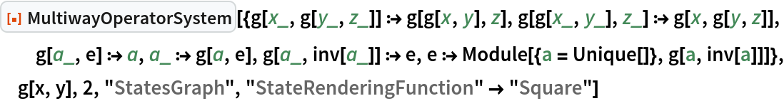 "ResourceFunction[  ""MultiwayOperatorSystem""][{g[x_, g[y_, z_]] :> g[g[x, y], z], g[g[x_, y_], z_] :> g[x, g[y, z]], g[a_, e] :> a, a_ :> g[a, e], g[a_, inv[a_]] :> e, e :> Module[{a = Unique[]}, g[a, inv[a]]]}, g[x, y], 2, ""StatesGraph"", ""StateRenderingFunction"" -> ""Square""]"