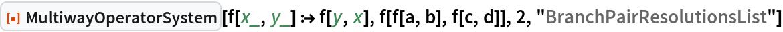 """ResourceFunction[""""MultiwayOperatorSystem""""][f[x_, y_] :> f[y, x], f[f[a, b], f[c, d]], 2, """"BranchPairResolutionsList""""]"""