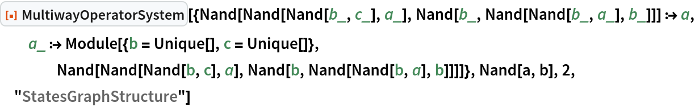 "ResourceFunction[  ""MultiwayOperatorSystem""][{Nand[Nand[Nand[b_, c_], a_], Nand[b_, Nand[Nand[b_, a_], b_]]] :> a, a_ :> Module[{b = Unique[], c = Unique[]}, Nand[Nand[Nand[b, c], a], Nand[b, Nand[Nand[b, a], b]]]]}, Nand[a, b], 2, ""StatesGraphStructure""]"