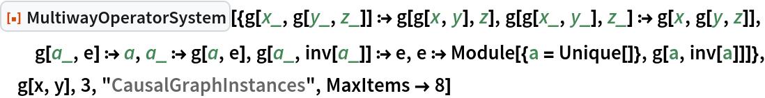 "ResourceFunction[  ""MultiwayOperatorSystem""][{g[x_, g[y_, z_]] :> g[g[x, y], z], g[g[x_, y_], z_] :> g[x, g[y, z]], g[a_, e] :> a, a_ :> g[a, e], g[a_, inv[a_]] :> e, e :> Module[{a = Unique[]}, g[a, inv[a]]]}, g[x, y], 3, ""CausalGraphInstances"", MaxItems -> 8]"