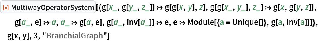 "ResourceFunction[  ""MultiwayOperatorSystem""][{g[x_, g[y_, z_]] :> g[g[x, y], z], g[g[x_, y_], z_] :> g[x, g[y, z]], g[a_, e] :> a, a_ :> g[a, e], g[a_, inv[a_]] :> e, e :> Module[{a = Unique[]}, g[a, inv[a]]]}, g[x, y], 3, ""BranchialGraph""]"