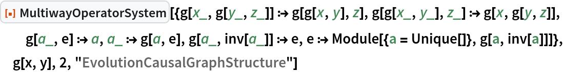 "ResourceFunction[  ""MultiwayOperatorSystem""][{g[x_, g[y_, z_]] :> g[g[x, y], z], g[g[x_, y_], z_] :> g[x, g[y, z]], g[a_, e] :> a, a_ :> g[a, e], g[a_, inv[a_]] :> e, e :> Module[{a = Unique[]}, g[a, inv[a]]]}, g[x, y], 2, ""EvolutionCausalGraphStructure""]"