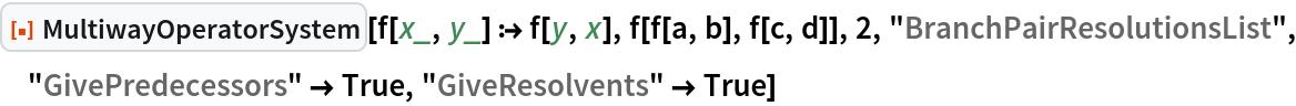 "ResourceFunction[""MultiwayOperatorSystem""][f[x_, y_] :> f[y, x], f[f[a, b], f[c, d]], 2, ""BranchPairResolutionsList"", ""GivePredecessors"" -> True, ""GiveResolvents"" -> True]"