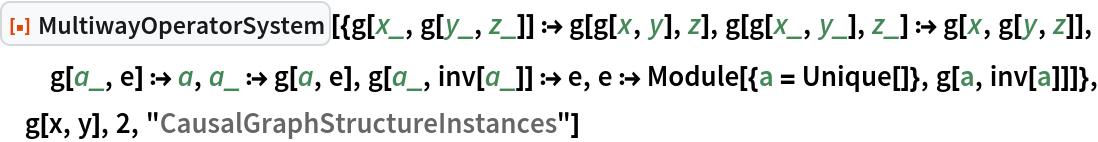"ResourceFunction[  ""MultiwayOperatorSystem""][{g[x_, g[y_, z_]] :> g[g[x, y], z], g[g[x_, y_], z_] :> g[x, g[y, z]], g[a_, e] :> a, a_ :> g[a, e], g[a_, inv[a_]] :> e, e :> Module[{a = Unique[]}, g[a, inv[a]]]}, g[x, y], 2, ""CausalGraphStructureInstances""]"