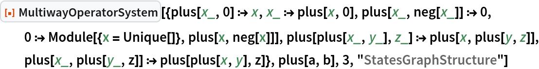 "ResourceFunction[  ""MultiwayOperatorSystem""][{plus[x_, 0] :> x, x_ :> plus[x, 0], plus[x_, neg[x_]] :> 0, 0 :> Module[{x = Unique[]}, plus[x, neg[x]]], plus[plus[x_, y_], z_] :> plus[x, plus[y, z]], plus[x_, plus[y_, z]] :> plus[plus[x, y], z]}, plus[a, b], 3, ""StatesGraphStructure""]"