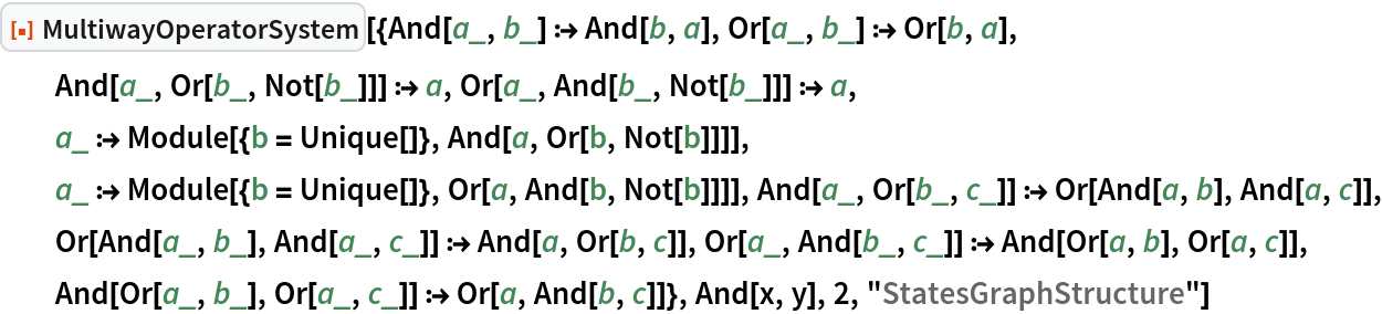 """ResourceFunction[  """"MultiwayOperatorSystem""""][{And[a_, b_] :> And[b, a], Or[a_, b_] :> Or[b, a], And[a_, Or[b_, Not[b_]]] :> a, Or[a_, And[b_, Not[b_]]] :> a, a_ :> Module[{b = Unique[]}, And[a, Or[b, Not[b]]]], a_ :> Module[{b = Unique[]}, Or[a, And[b, Not[b]]]], And[a_, Or[b_, c_]] :> Or[And[a, b], And[a, c]], Or[And[a_, b_], And[a_, c_]] :> And[a, Or[b, c]], Or[a_, And[b_, c_]] :> And[Or[a, b], Or[a, c]], And[Or[a_, b_], Or[a_, c_]] :> Or[a, And[b, c]]}, And[x, y], 2, """"StatesGraphStructure""""]"""